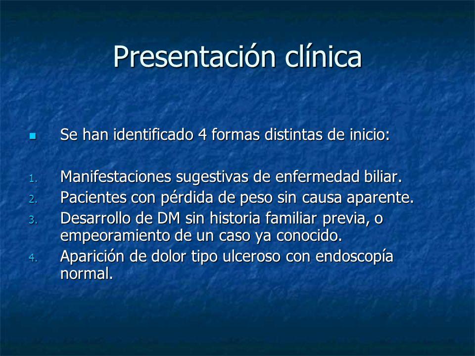 Presentación clínica Se han identificado 4 formas distintas de inicio: Se han identificado 4 formas distintas de inicio: 1.