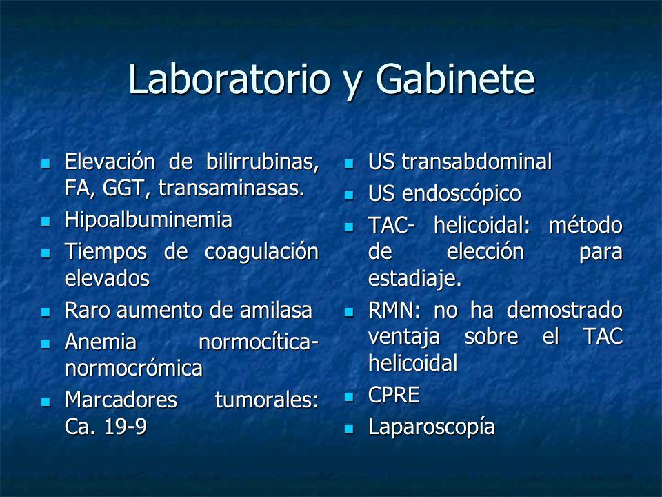 Laboratorio y Gabinete Elevación de bilirrubinas, FA, GGT, transaminasas.