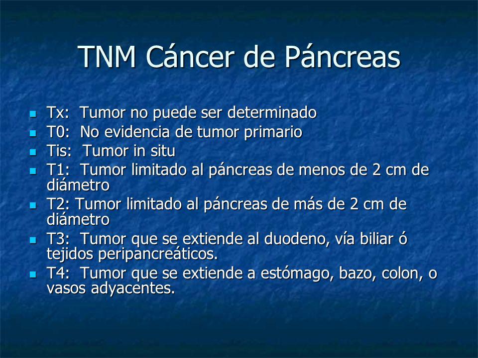 TNM Cáncer de Páncreas Tx: Tumor no puede ser determinado Tx: Tumor no puede ser determinado T0: No evidencia de tumor primario T0: No evidencia de tumor primario Tis: Tumor in situ Tis: Tumor in situ T1: Tumor limitado al páncreas de menos de 2 cm de diámetro T1: Tumor limitado al páncreas de menos de 2 cm de diámetro T2: Tumor limitado al páncreas de más de 2 cm de diámetro T2: Tumor limitado al páncreas de más de 2 cm de diámetro T3: Tumor que se extiende al duodeno, vía biliar ó tejidos peripancreáticos.