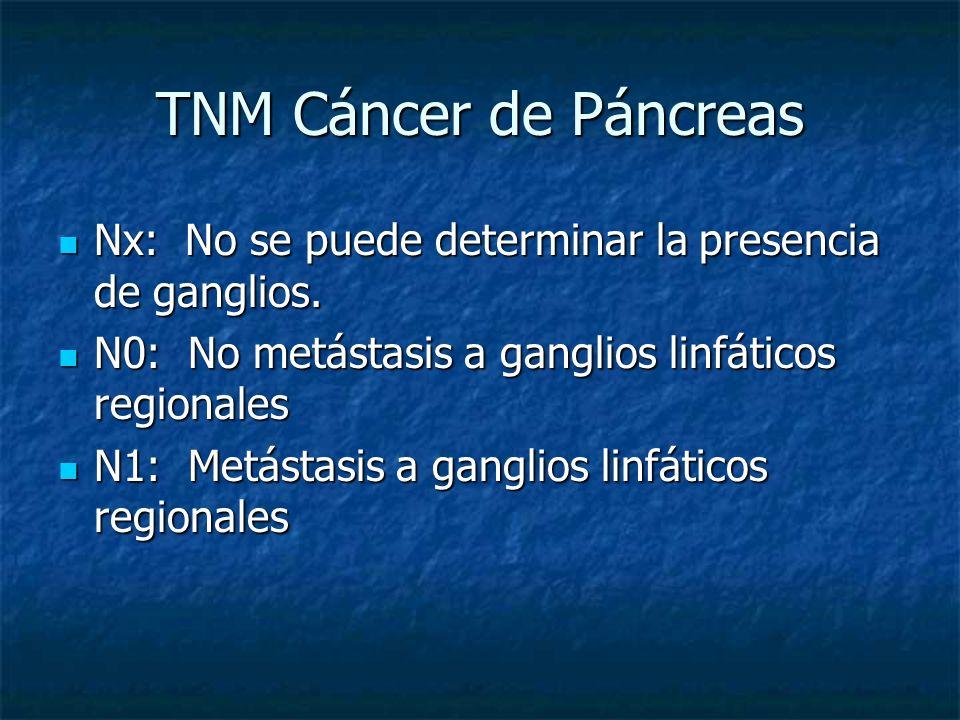 TNM Cáncer de Páncreas Nx: No se puede determinar la presencia de ganglios.
