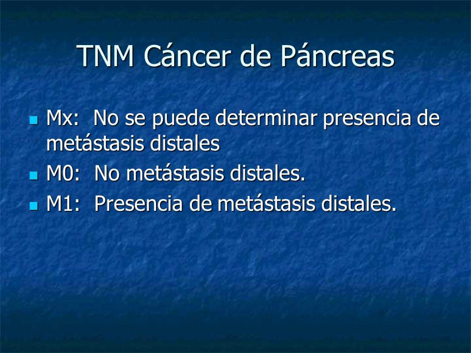 TNM Cáncer de Páncreas Mx: No se puede determinar presencia de metástasis distales Mx: No se puede determinar presencia de metástasis distales M0: No metástasis distales.