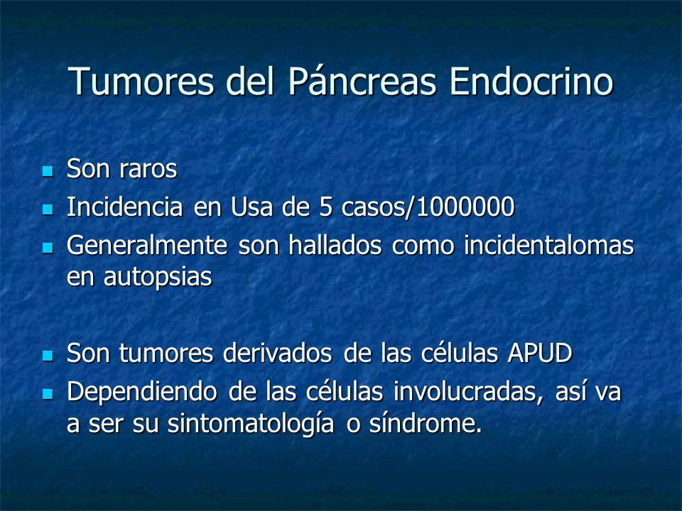 Tumores del Páncreas Endocrino Son raros Son raros Incidencia en Usa de 5 casos/1000000 Incidencia en Usa de 5 casos/1000000 Generalmente son hallados como incidentalomas en autopsias Generalmente son hallados como incidentalomas en autopsias Son tumores derivados de las células APUD Son tumores derivados de las células APUD Dependiendo de las células involucradas, así va a ser su sintomatología o síndrome.
