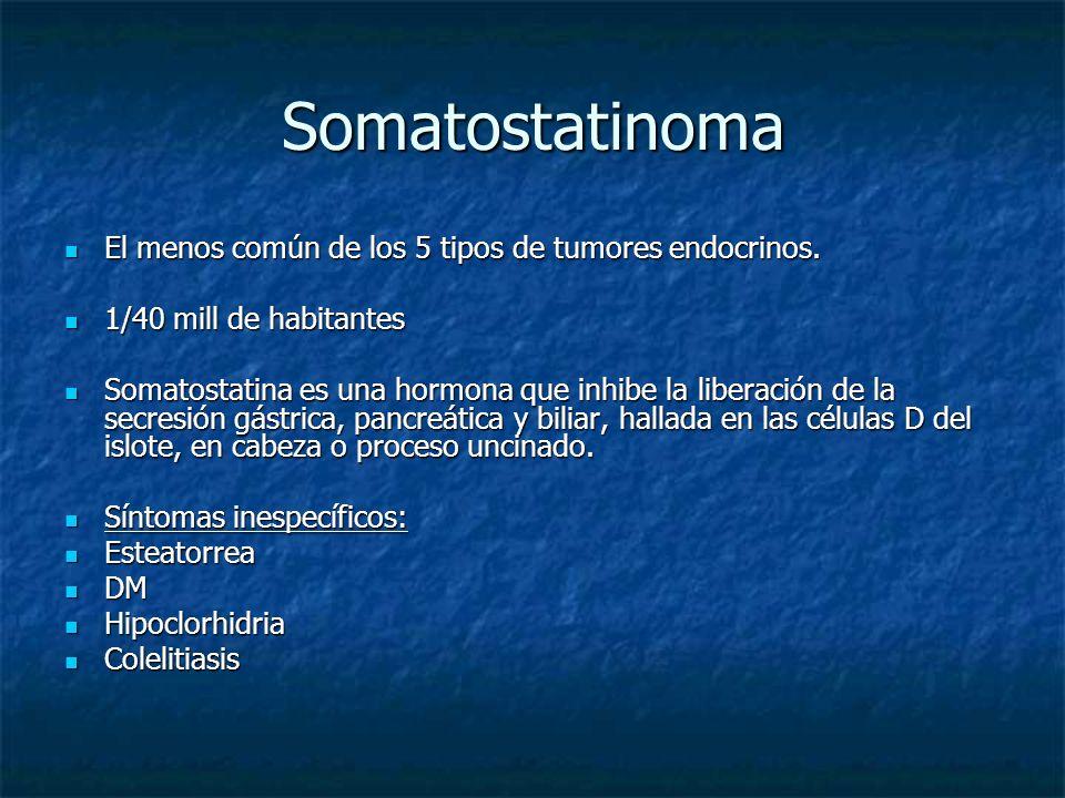 Somatostatinoma El menos común de los 5 tipos de tumores endocrinos.