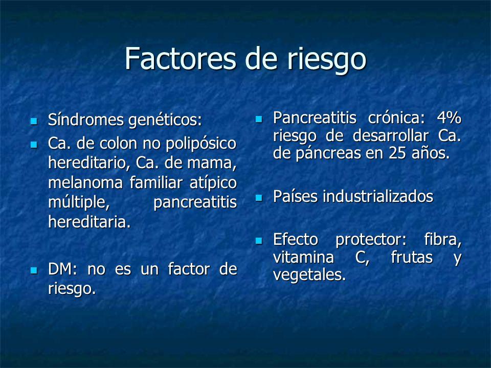 Factores de riesgo Síndromes genéticos: Síndromes genéticos: Ca.