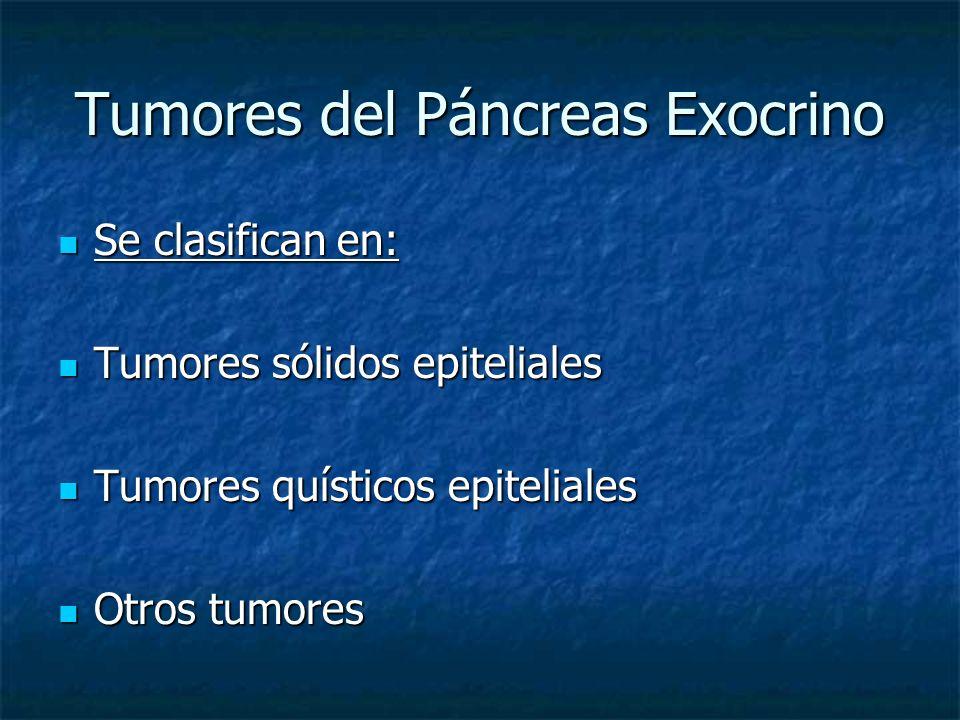 Tumores del Páncreas Exocrino Se clasifican en: Se clasifican en: Tumores sólidos epiteliales Tumores sólidos epiteliales Tumores quísticos epiteliales Tumores quísticos epiteliales Otros tumores Otros tumores