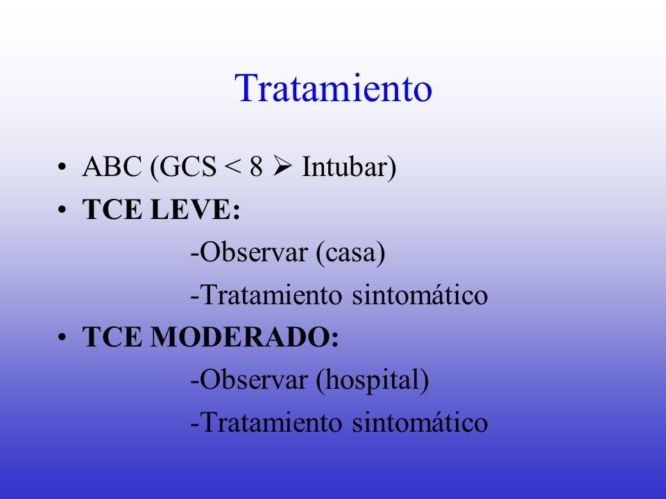 Tratamiento ABC (GCS < 8 Intubar) TCE LEVE: -Observar (casa) -Tratamiento sintomático TCE MODERADO: -Observar (hospital) -Tratamiento sintomático