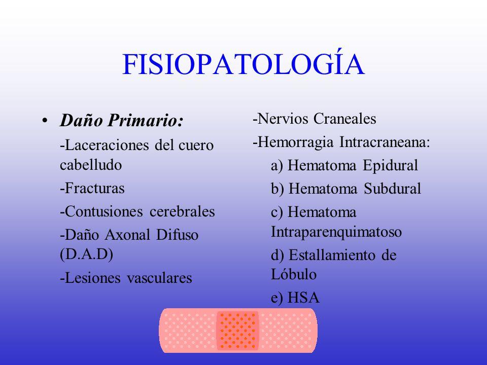 FISIOPATOLOGÍA Insultos secundarios que influyen en resultado final: -*Hipotensión Arterial -FSC reducido -HIC -*Hipoxemia -*Pirexia