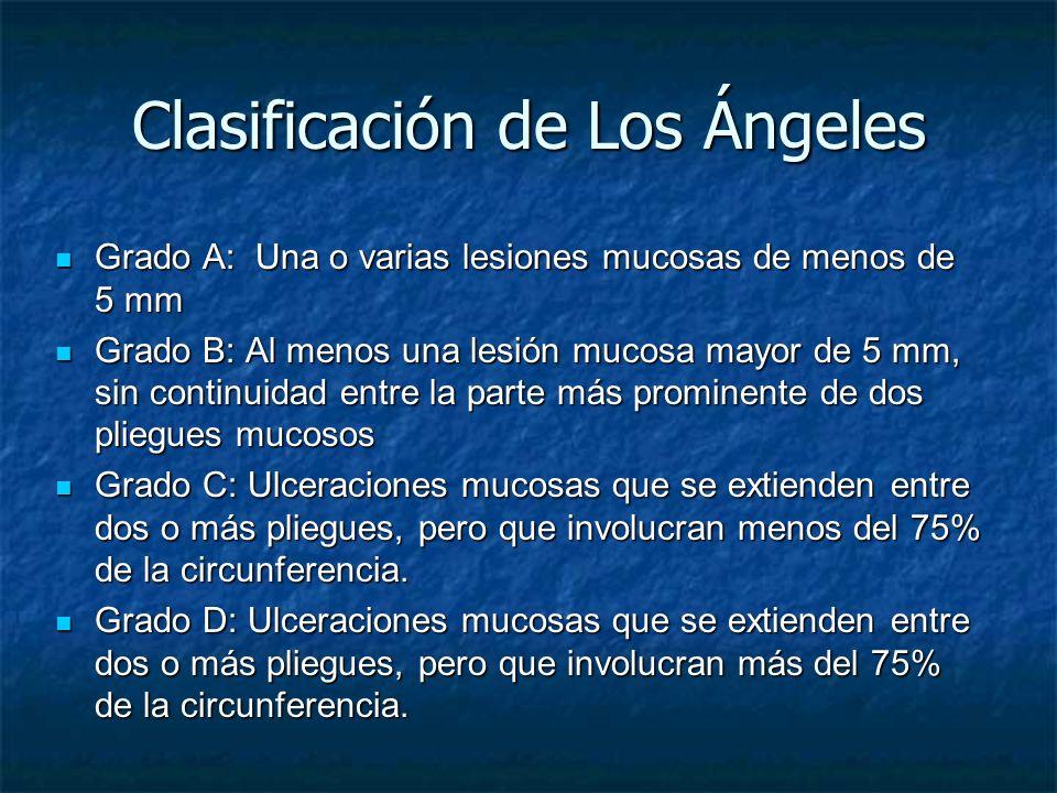 Clasificación de Los Ángeles Grado A: Una o varias lesiones mucosas de menos de 5 mm Grado A: Una o varias lesiones mucosas de menos de 5 mm Grado B: