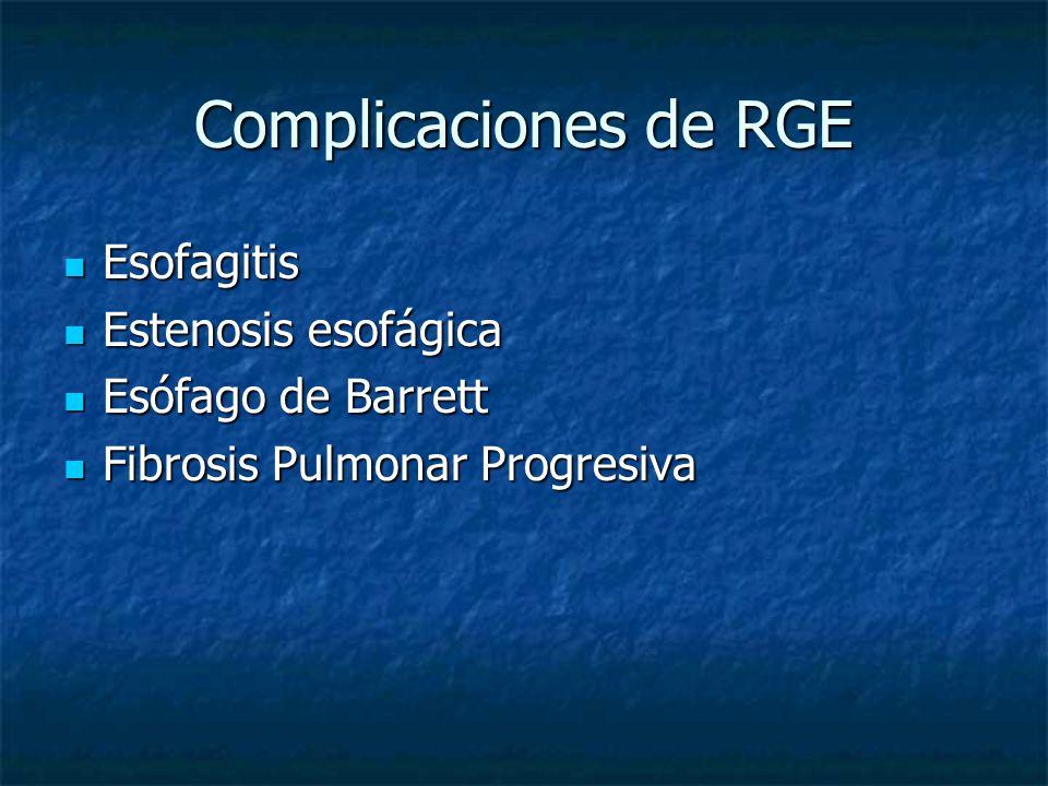 Complicaciones de RGE Esofagitis Esofagitis Estenosis esofágica Estenosis esofágica Esófago de Barrett Esófago de Barrett Fibrosis Pulmonar Progresiva