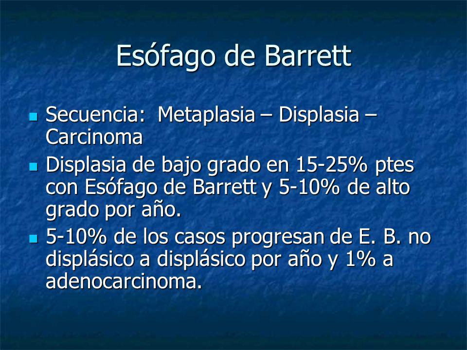 Esófago de Barrett Secuencia: Metaplasia – Displasia – Carcinoma Secuencia: Metaplasia – Displasia – Carcinoma Displasia de bajo grado en 15-25% ptes