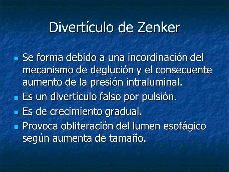 Divertículo de Zenker Se forma debido a una incordinación del mecanismo de deglución y el consecuente aumento de la presión intraluminal. Se forma deb