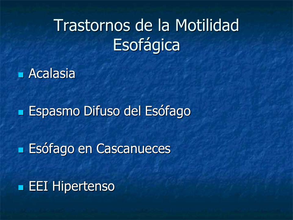 Acalasia Acalasia Espasmo Difuso del Esófago Espasmo Difuso del Esófago Esófago en Cascanueces Esófago en Cascanueces EEI Hipertenso EEI Hipertenso