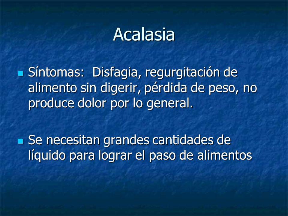 Acalasia Síntomas: Disfagia, regurgitación de alimento sin digerir, pérdida de peso, no produce dolor por lo general. Síntomas: Disfagia, regurgitació