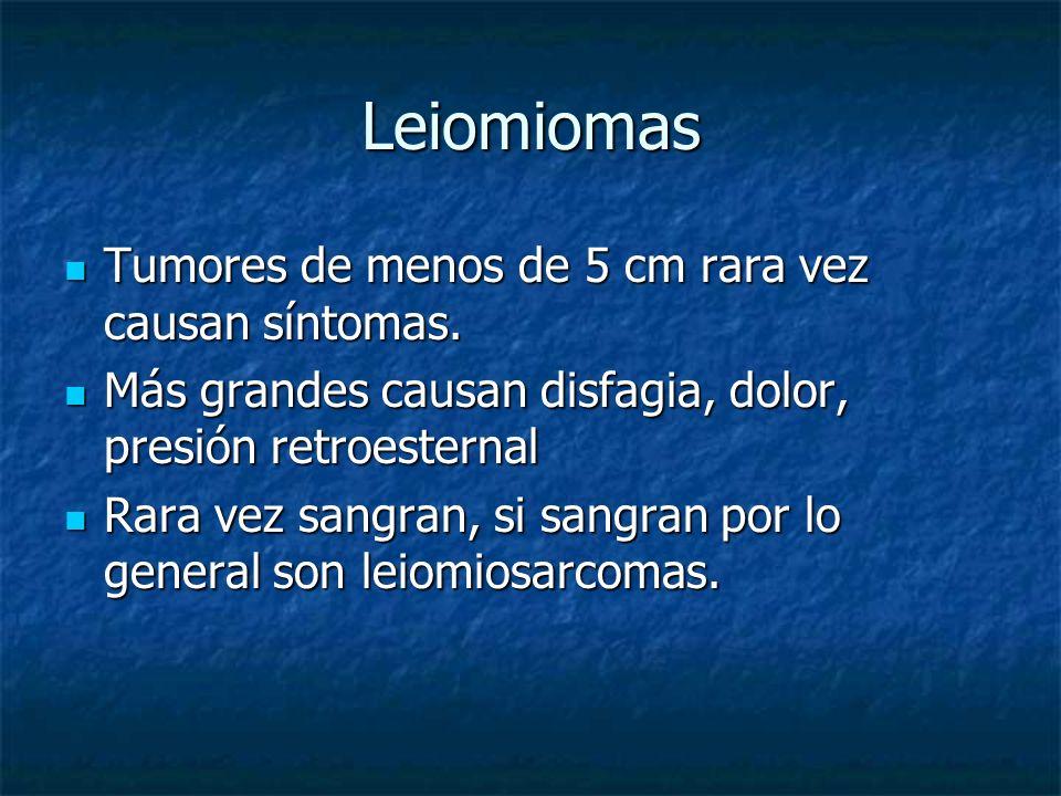 Leiomiomas Tumores de menos de 5 cm rara vez causan síntomas. Tumores de menos de 5 cm rara vez causan síntomas. Más grandes causan disfagia, dolor, p