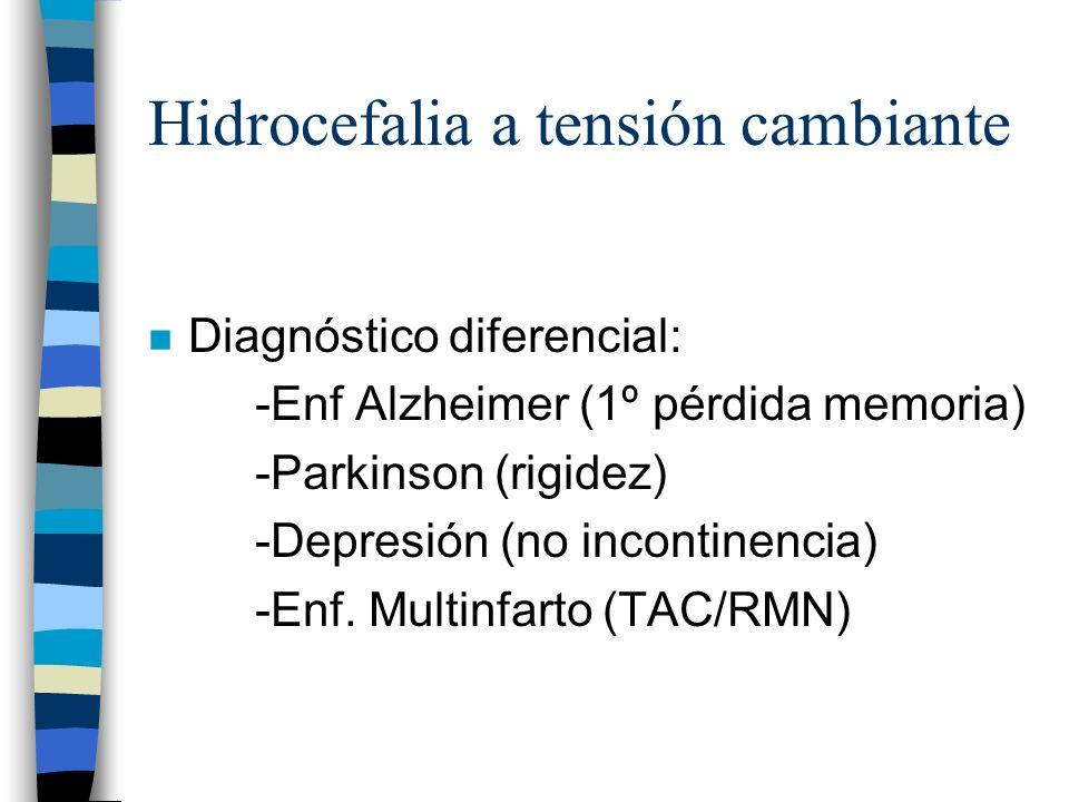 Hidrocefalia a tensión cambiante n Diagnóstico diferencial: -Enf Alzheimer (1º pérdida memoria) -Parkinson (rigidez) -Depresión (no incontinencia) -En