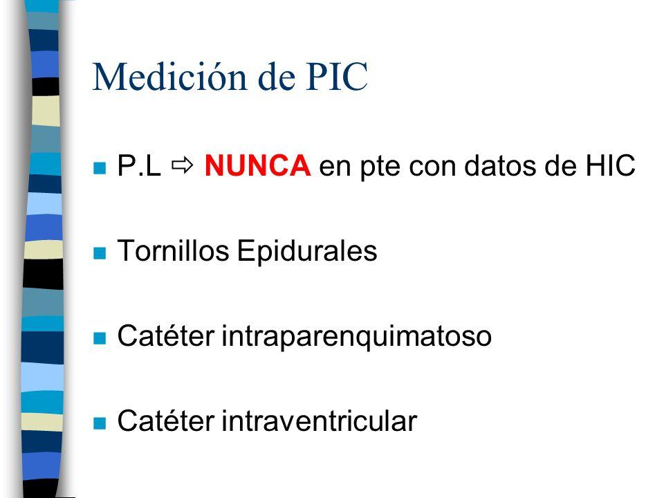 Medición de PIC n P.L NUNCA en pte con datos de HIC n Tornillos Epidurales n Catéter intraparenquimatoso n Catéter intraventricular