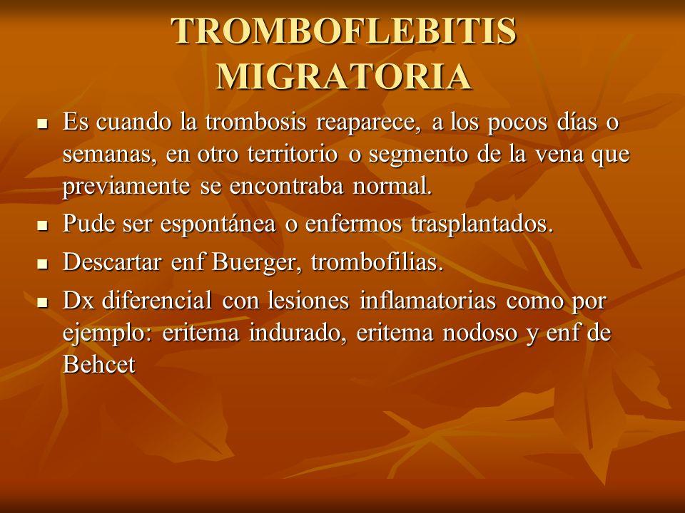TROMBOFLEBITIS MIGRATORIA Es cuando la trombosis reaparece, a los pocos días o semanas, en otro territorio o segmento de la vena que previamente se en