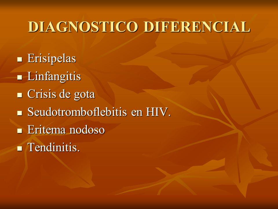 DIAGNOSTICO DIFERENCIAL Erisipelas Erisipelas Linfangitis Linfangitis Crisis de gota Crisis de gota Seudotromboflebitis en HIV. Seudotromboflebitis en