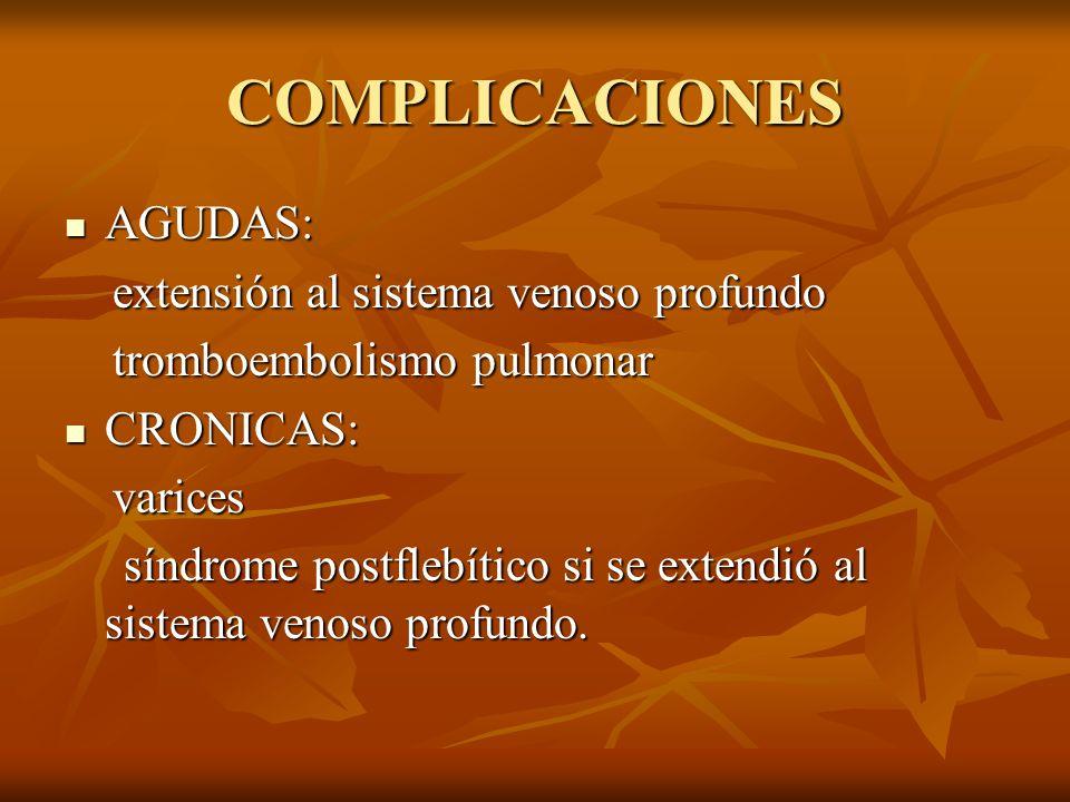 COMPLICACIONES AGUDAS: AGUDAS: extensión al sistema venoso profundo extensión al sistema venoso profundo tromboembolismo pulmonar tromboembolismo pulm