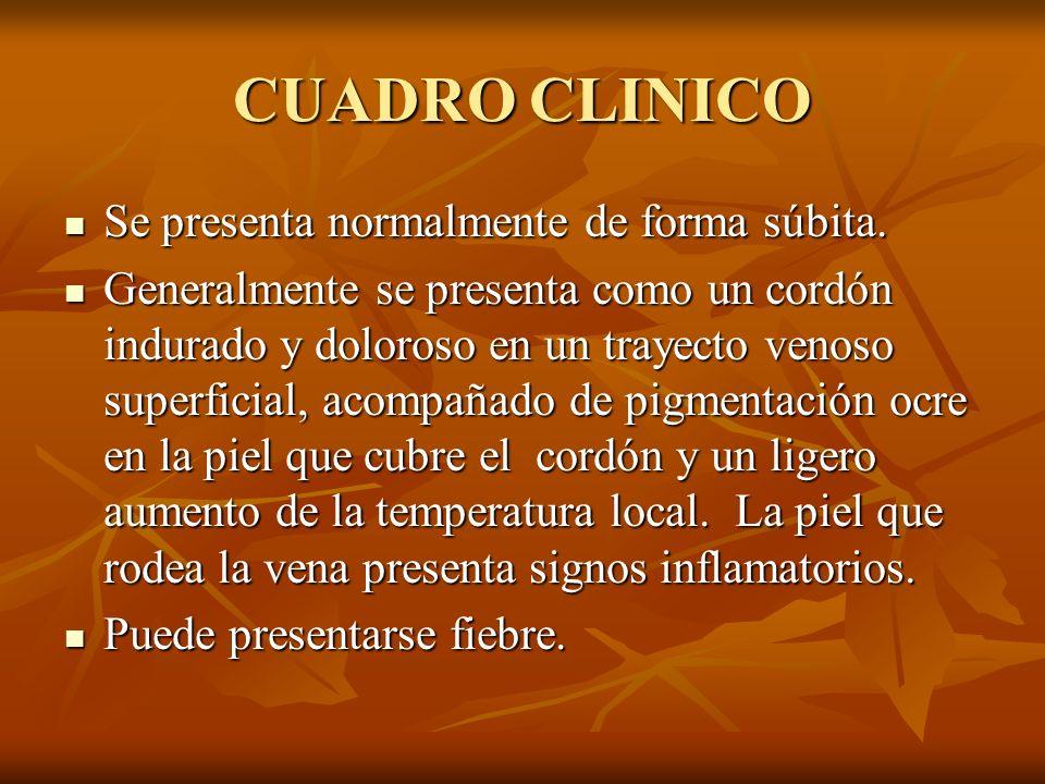 CUADRO CLINICO Se presenta normalmente de forma súbita. Se presenta normalmente de forma súbita. Generalmente se presenta como un cordón indurado y do