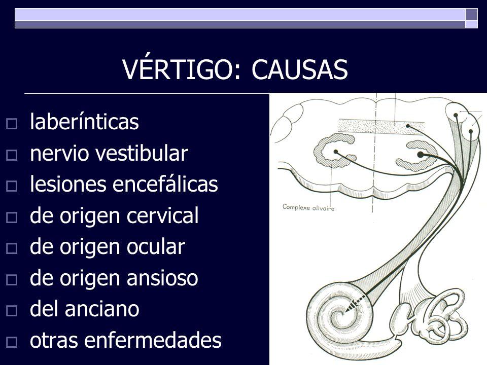 VÉRTIGO: CAUSAS laberínticas nervio vestibular lesiones encefálicas de origen cervical de origen ocular de origen ansioso del anciano otras enfermedad