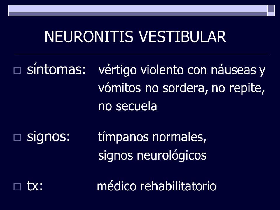 NEURONITIS VESTIBULAR síntomas: vértigo violento con náuseas y vómitos no sordera, no repite, no secuela signos: tímpanos normales, signos neurológico