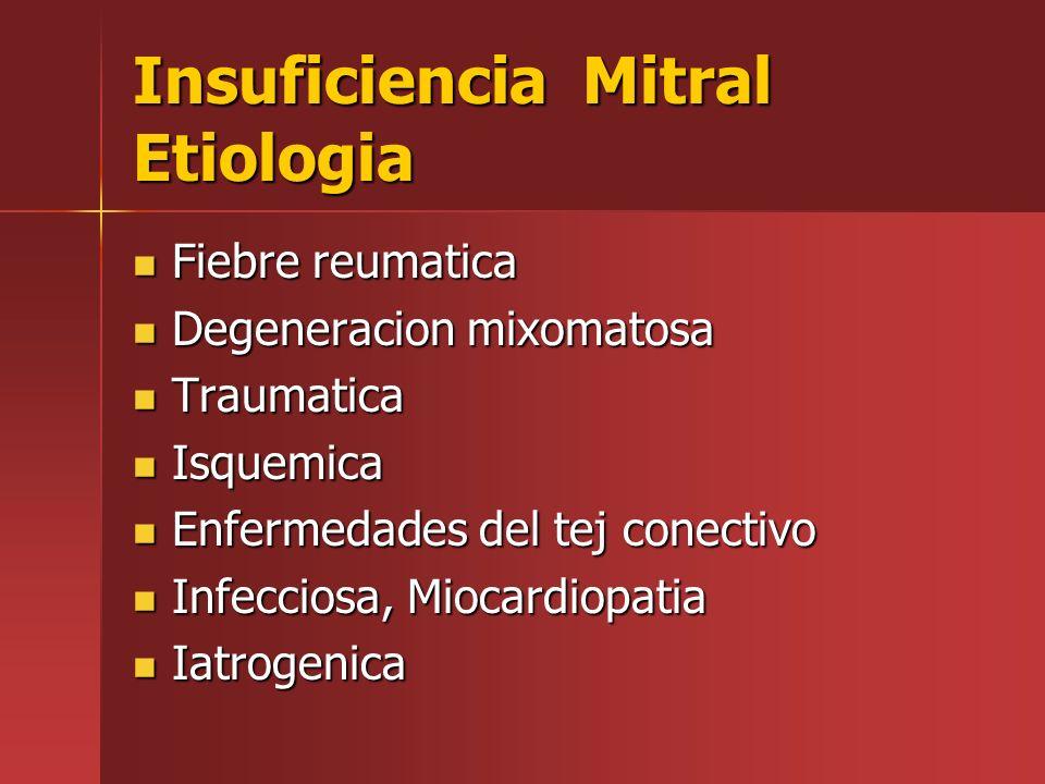 Insuficiencia Mitral Etiologia Fiebre reumatica Fiebre reumatica Degeneracion mixomatosa Degeneracion mixomatosa Traumatica Traumatica Isquemica Isque
