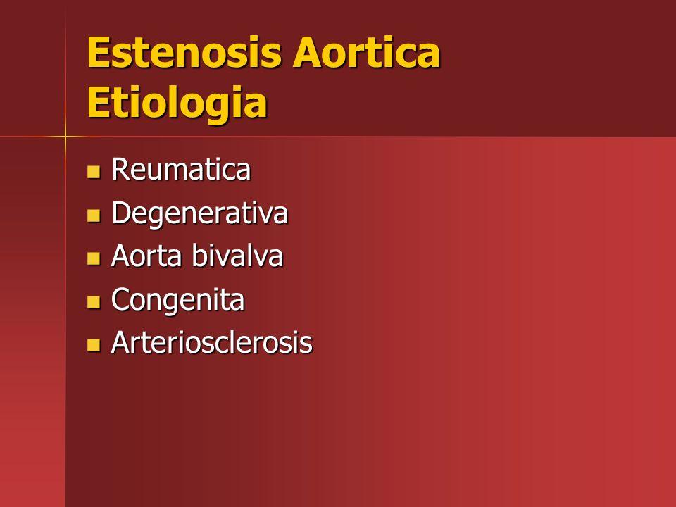 Estenosis Aortica Etiologia Reumatica Reumatica Degenerativa Degenerativa Aorta bivalva Aorta bivalva Congenita Congenita Arteriosclerosis Arterioscle