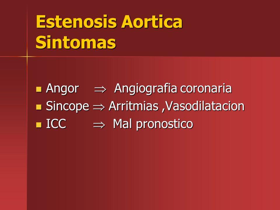 Estenosis Aortica Sintomas Angor Angiografia coronaria Angor Angiografia coronaria Sincope Arritmias,Vasodilatacion Sincope Arritmias,Vasodilatacion I