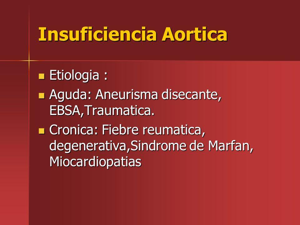 Insuficiencia Aortica Etiologia : Etiologia : Aguda: Aneurisma disecante, EBSA,Traumatica. Aguda: Aneurisma disecante, EBSA,Traumatica. Cronica: Fiebr