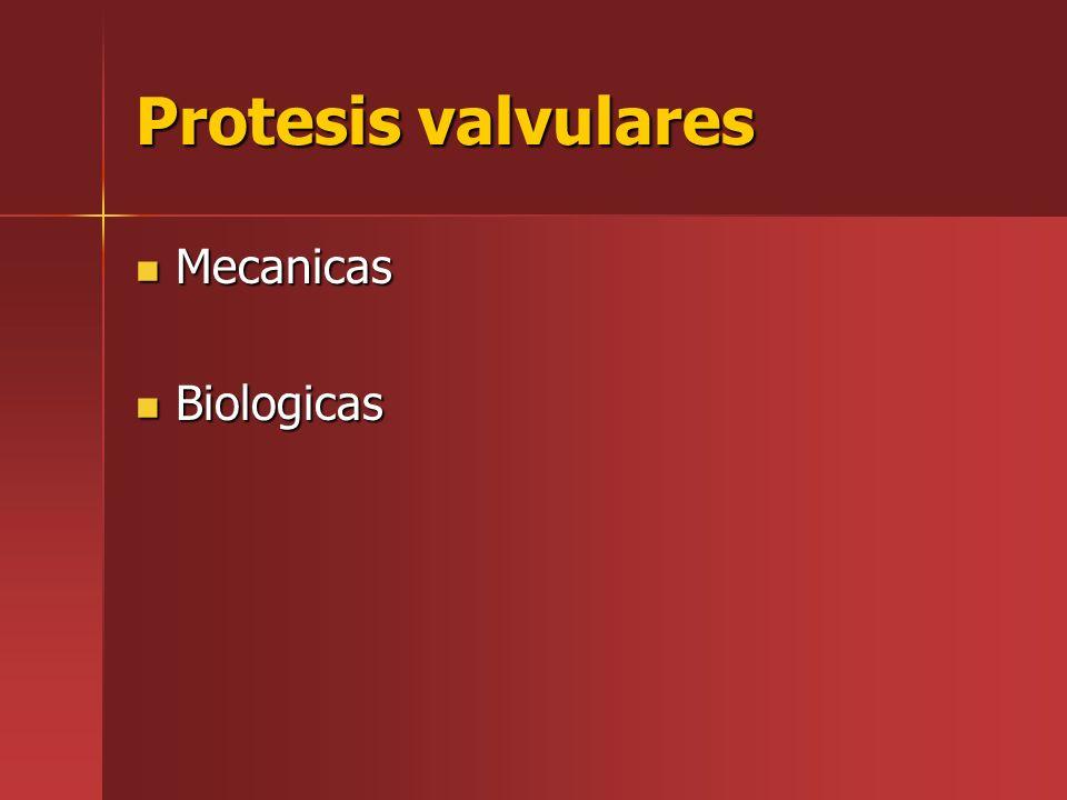 Protesis valvulares Mecanicas Mecanicas Biologicas Biologicas