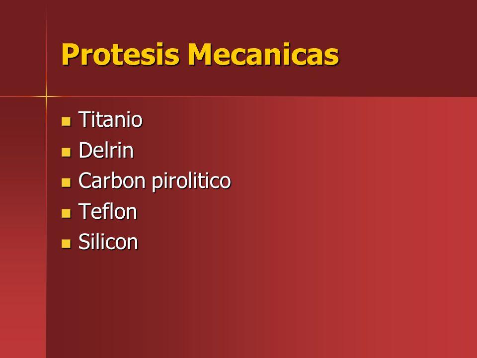 Protesis Mecanicas Titanio Titanio Delrin Delrin Carbon pirolitico Carbon pirolitico Teflon Teflon Silicon Silicon