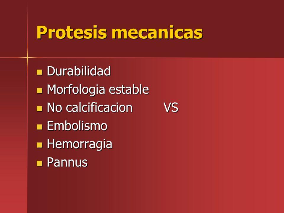 Protesis mecanicas Durabilidad Durabilidad Morfologia estable Morfologia estable No calcificacion VS No calcificacion VS Embolismo Embolismo Hemorragi