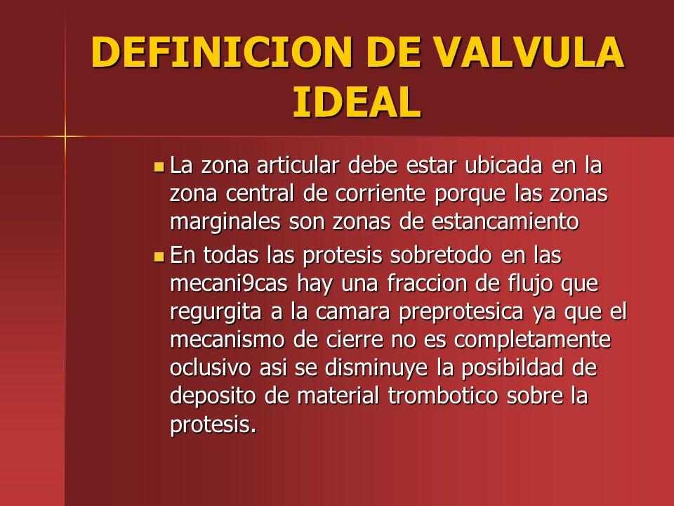 DEFINICION DE VALVULA IDEAL La zona articular debe estar ubicada en la zona central de corriente porque las zonas marginales son zonas de estancamient