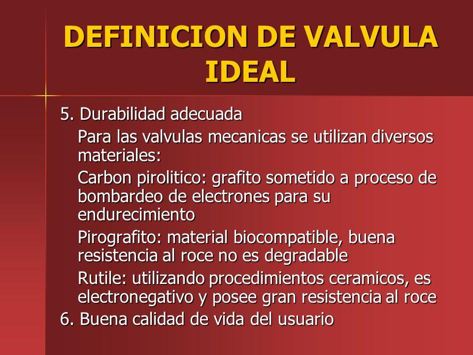 DEFINICION DE VALVULA IDEAL 5. Durabilidad adecuada Para las valvulas mecanicas se utilizan diversos materiales: Carbon pirolitico: grafito sometido a