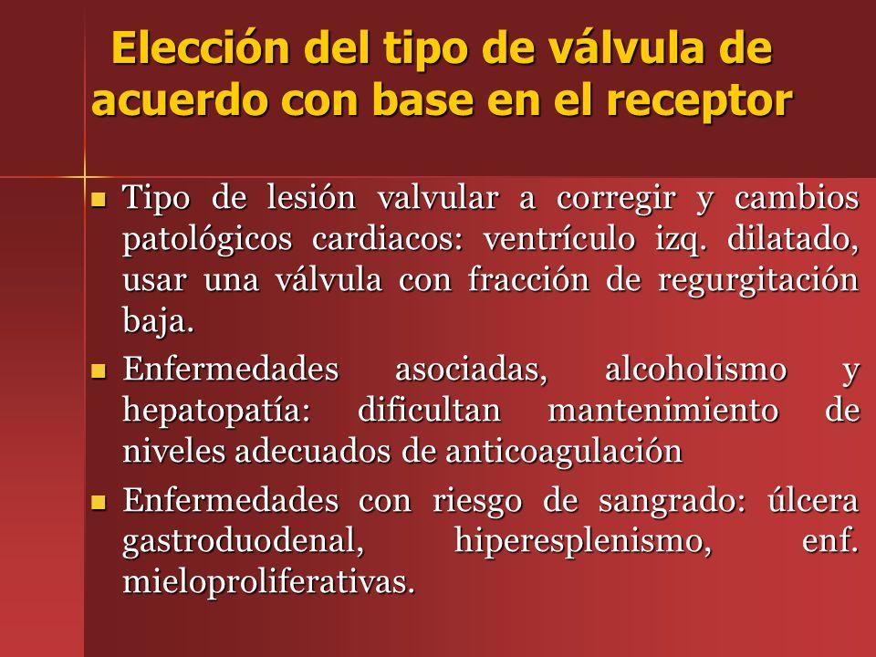 Tipo de lesión valvular a corregir y cambios patológicos cardiacos: ventrículo izq. dilatado, usar una válvula con fracción de regurgitación baja. Tip