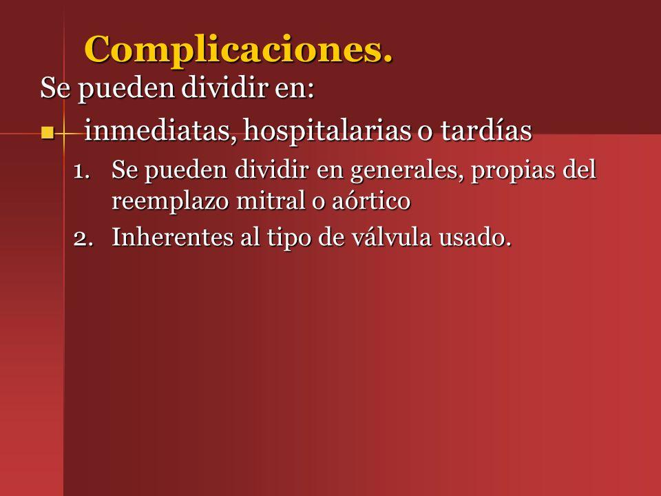 Complicaciones. Se pueden dividir en: inmediatas, hospitalarias o tardías inmediatas, hospitalarias o tardías 1.Se pueden dividir en generales, propia