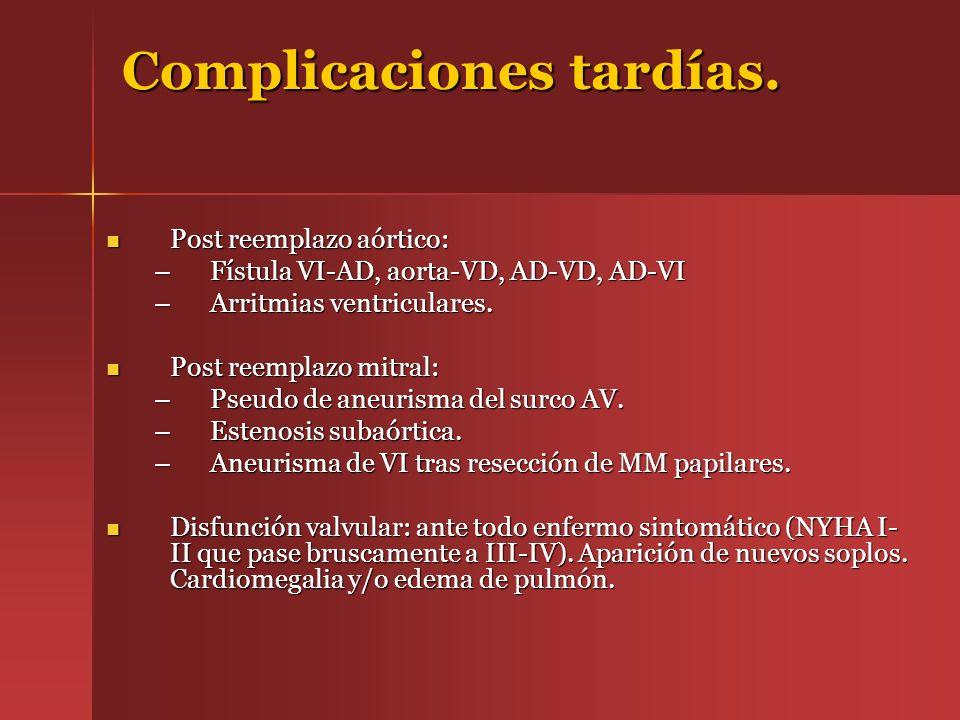 Complicaciones tardías. Post reemplazo aórtico: Post reemplazo aórtico: –Fístula VI-AD, aorta-VD, AD-VD, AD-VI –Arritmias ventriculares. Post reemplaz
