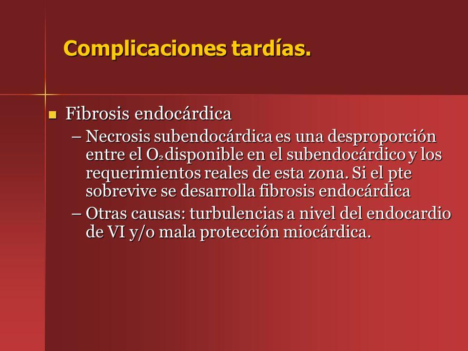 Fibrosis endocárdica Fibrosis endocárdica –Necrosis subendocárdica es una desproporción entre el O 2 disponible en el subendocárdico y los requerimien