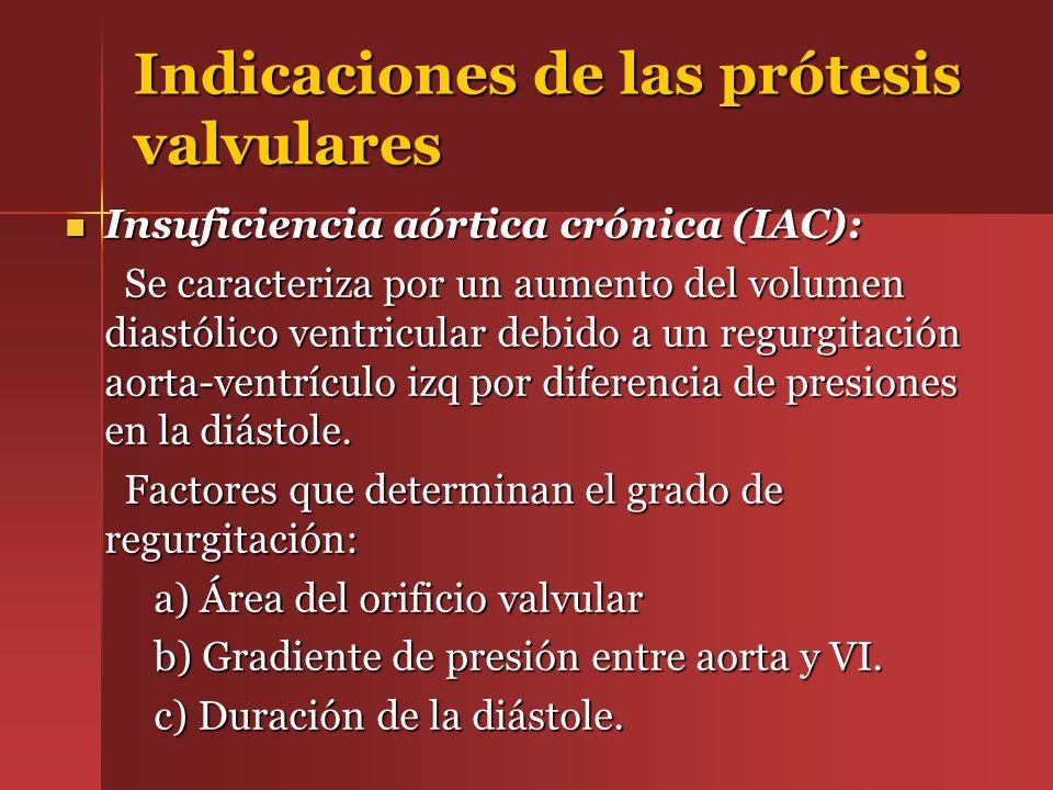 Indicaciones de las prótesis valvulares Insuficiencia aórtica crónica (IAC): Insuficiencia aórtica crónica (IAC): Se caracteriza por un aumento del vo