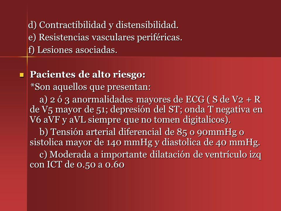 d) Contractibilidad y distensibilidad. d) Contractibilidad y distensibilidad. e) Resistencias vasculares periféricas. e) Resistencias vasculares perif