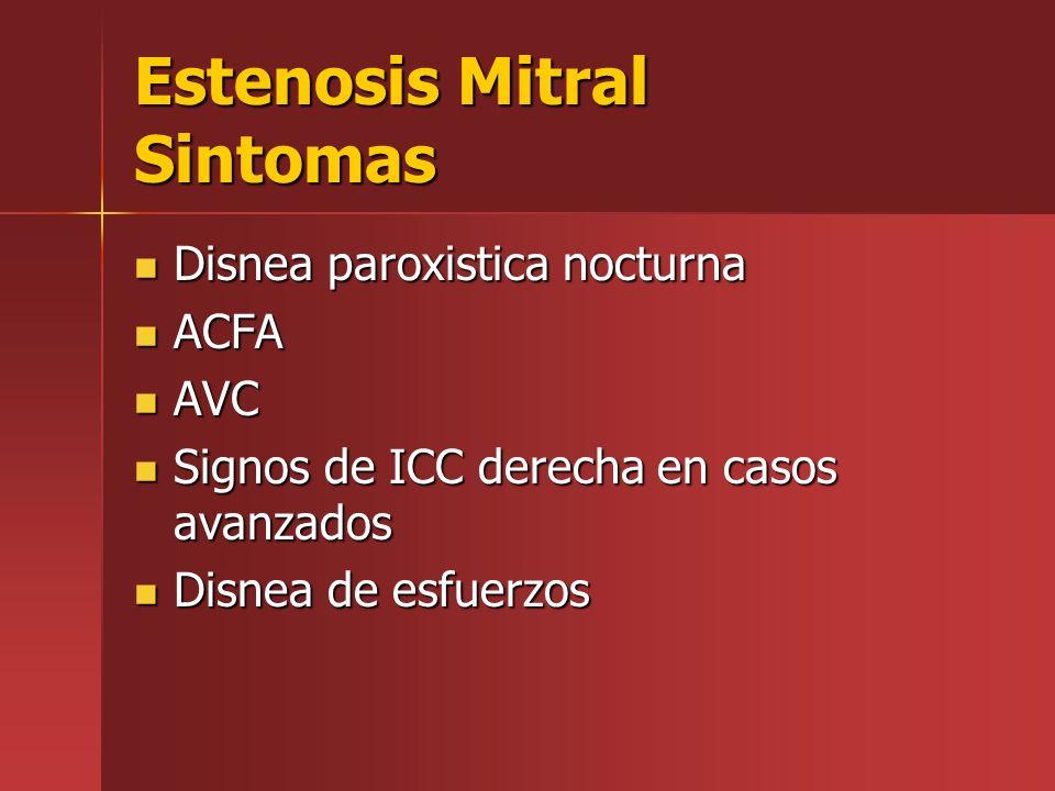 Estenosis Mitral Sintomas Disnea paroxistica nocturna Disnea paroxistica nocturna ACFA ACFA AVC AVC Signos de ICC derecha en casos avanzados Signos de