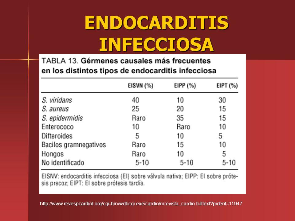 ENDOCARDITIS INFECCIOSA http://www.revespcardiol.org/cgi-bin/wdbcgi.exe/cardio/mrevista_cardio.fulltext?pident=11947