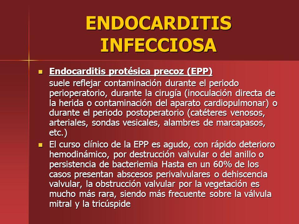 ENDOCARDITIS INFECCIOSA Endocarditis protésica precoz (EPP) Endocarditis protésica precoz (EPP) suele reflejar contaminación durante el periodo periop