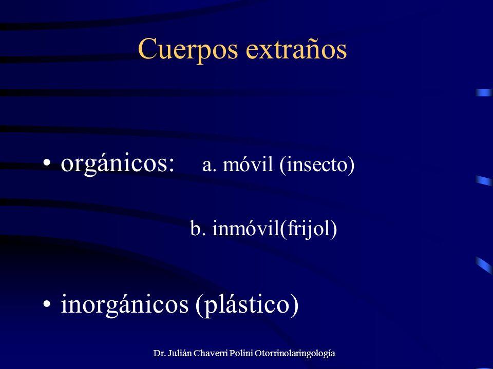 Dr. Julián Chaverri Polini Otorrinolaringología Cuerpos extraños orgánicos: a. móvil (insecto) b. inmóvil(frijol) inorgánicos (plástico)