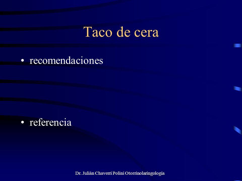 Dr. Julián Chaverri Polini Otorrinolaringología Taco de cera recomendaciones referencia