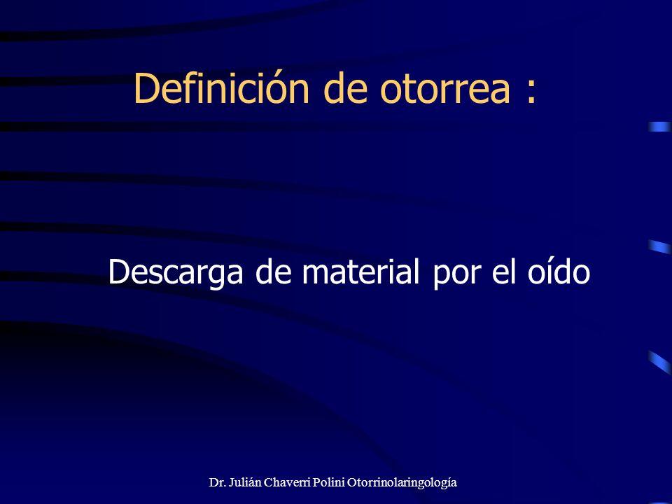 Dr. Julián Chaverri Polini Otorrinolaringología Definición de otorrea : Descarga de material por el oído