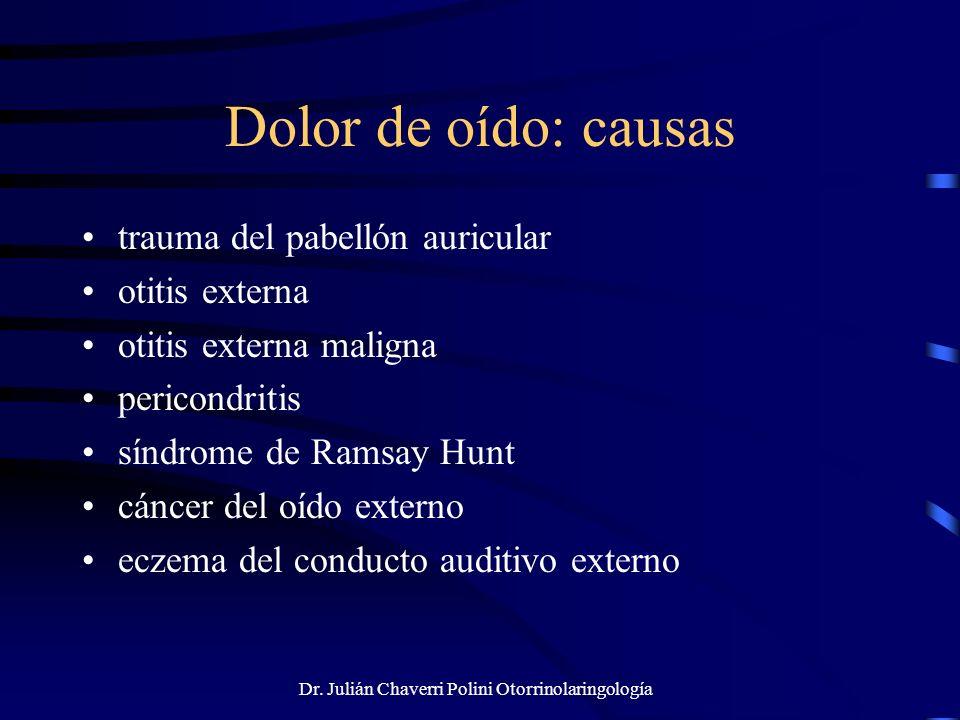 Dr. Julián Chaverri Polini Otorrinolaringología Dolor de oído: causas trauma del pabellón auricular otitis externa otitis externa maligna pericondriti