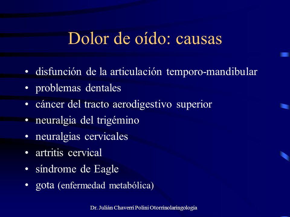 Dr. Julián Chaverri Polini Otorrinolaringología Dolor de oído: causas disfunción de la articulación temporo-mandibular problemas dentales cáncer del t
