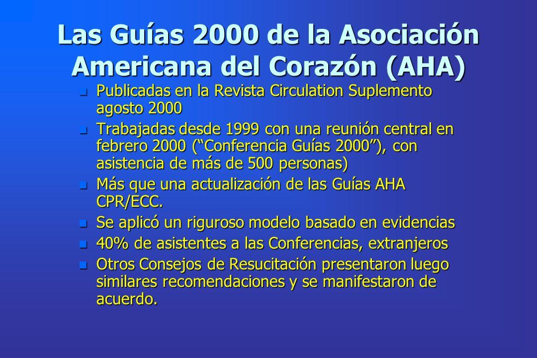 Las Guías 2000 de la Asociación Americana del Corazón (AHA) n Publicadas en la Revista Circulation Suplemento agosto 2000 n Trabajadas desde 1999 con